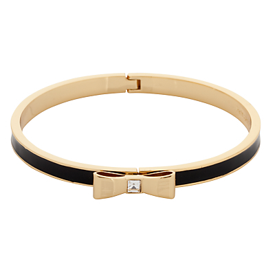 Glass And Enamel Hinged Bow Bangle - predominant colour: gold; secondary colour: black; style: bangle/standard; size: standard; material: chain/metal; finish: metallic; embellishment: bow; occasions: creative work; season: s/s 2016; wardrobe: basic