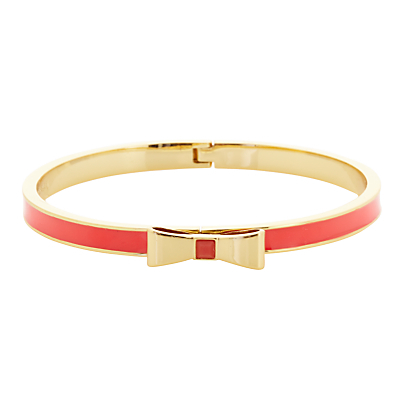 Glass And Enamel Hinged Bow Bangle - predominant colour: true red; secondary colour: gold; style: bangle/standard; size: standard; material: chain/metal; finish: metallic; embellishment: bow; occasions: creative work; season: s/s 2016; wardrobe: highlight