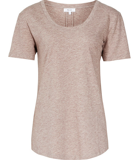 Lilith Round Neck T Shirt - neckline: round neck; pattern: plain; style: t-shirt; predominant colour: blush; occasions: casual, creative work; length: standard; fibres: cotton - mix; fit: body skimming; sleeve length: short sleeve; sleeve style: standard; pattern type: fabric; texture group: jersey - stretchy/drapey; season: s/s 2016; wardrobe: basic