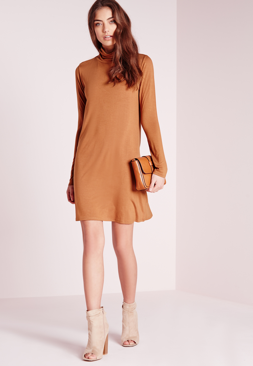 Roll Neck Jersey Swing Dress Rust, Brown - style: tunic; length: mid thigh; fit: loose; pattern: plain; neckline: roll neck; predominant colour: camel; occasions: evening; fibres: polyester/polyamide - 100%; sleeve length: long sleeve; sleeve style: standard; pattern type: fabric; texture group: jersey - stretchy/drapey; season: s/s 2016