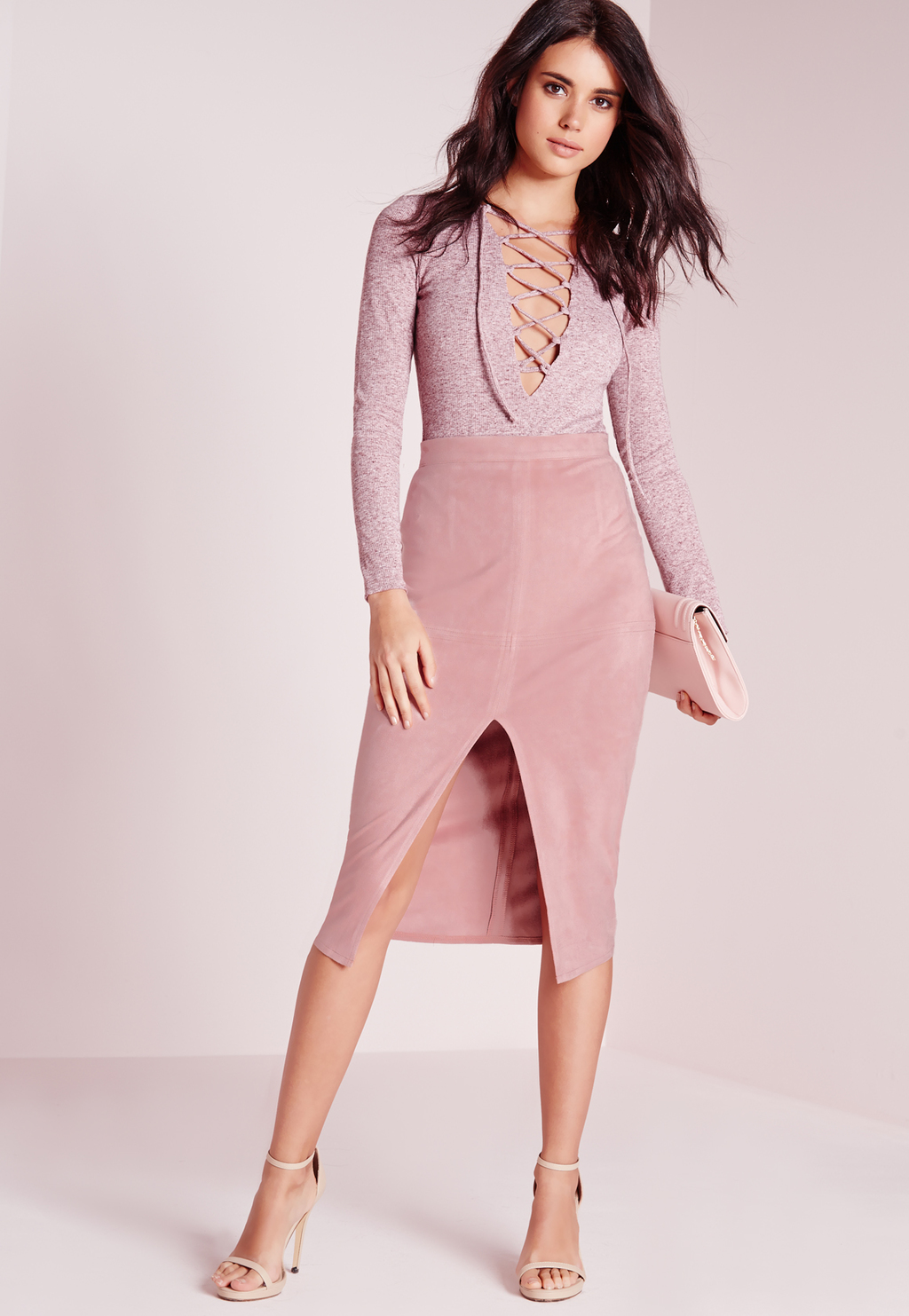 Tall Split Front Longline Faux Suede Midi Skirt Lilac Ash, Purple - length: below the knee; pattern: plain; style: pencil; fit: tight; waist: high rise; predominant colour: pink; occasions: evening; fibres: polyester/polyamide - stretch; pattern type: fabric; texture group: suede; season: s/s 2016; wardrobe: event