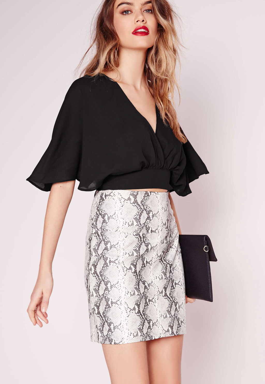 Floaty Tie Back Crop Top Black, Black - neckline: low v-neck; sleeve style: angel/waterfall; pattern: plain; length: cropped; predominant colour: black; occasions: evening; style: top; fibres: polyester/polyamide - stretch; fit: loose; sleeve length: half sleeve; pattern type: fabric; texture group: other - light to midweight; season: s/s 2016