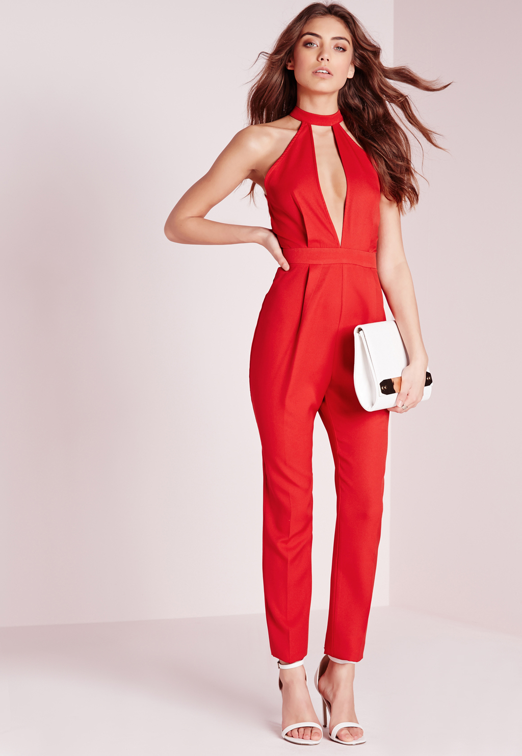 Split Front Jumpsuit Red, Red - fit: tailored/fitted; pattern: plain; sleeve style: sleeveless; predominant colour: true red; occasions: evening; length: ankle length; fibres: polyester/polyamide - 100%; hip detail: subtle/flattering hip detail; waist detail: feature waist detail; sleeve length: sleeveless; texture group: crepes; style: jumpsuit; pattern type: fabric; season: s/s 2016; neckline: high halter neck; wardrobe: event
