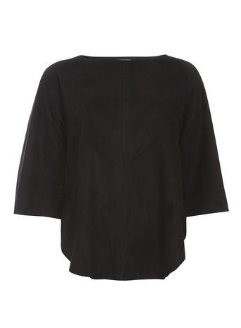 Womens **Vero Moda Black Suede Effect Top Black - neckline: slash/boat neckline; sleeve style: raglan; pattern: plain; predominant colour: black; occasions: casual, creative work; length: standard; style: top; fibres: viscose/rayon - 100%; fit: straight cut; sleeve length: 3/4 length; pattern type: fabric; texture group: suede; season: s/s 2016