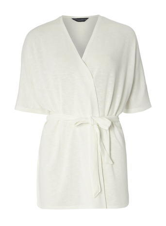 Womens **Tall Ivory Wrap Belted Cardigan White - neckline: v-neck; pattern: plain; style: wrap; length: below the bottom; predominant colour: ivory/cream; occasions: casual, work, creative work; fibres: polyester/polyamide - mix; fit: standard fit; waist detail: belted waist/tie at waist/drawstring; sleeve length: short sleeve; sleeve style: standard; texture group: knits/crochet; pattern type: knitted - fine stitch; season: s/s 2016; wardrobe: basic