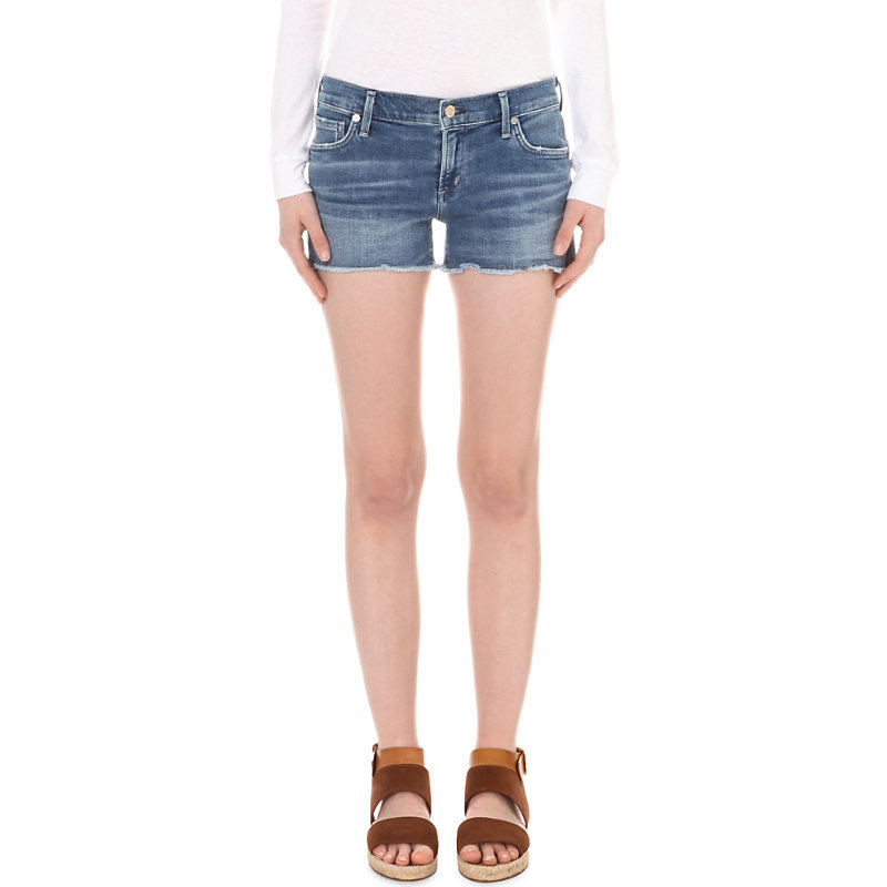 Ava Stretch Denim Shorts, Women's, Pacifica - pattern: plain; waist: low rise; pocket detail: traditional 5 pocket; predominant colour: denim; occasions: casual, holiday; fibres: cotton - stretch; texture group: denim; pattern type: fabric; season: s/s 2016; style: denim; length: short shorts; fit: skinny/tight leg