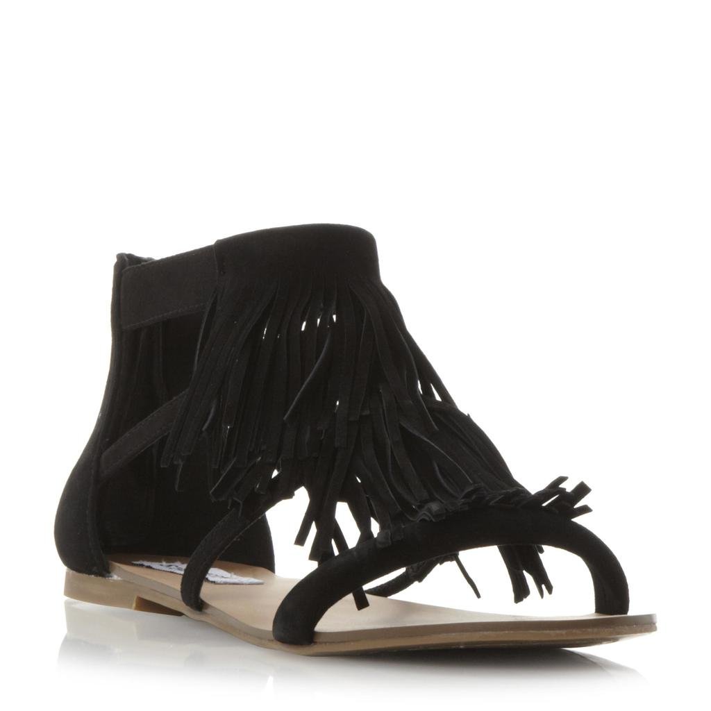Favorit Sm Fringe Flat Sandal - predominant colour: black; occasions: casual, holiday; material: suede; heel height: flat; ankle detail: ankle strap; heel: block; toe: open toe/peeptoe; style: strappy; finish: plain; pattern: plain; embellishment: fringing; season: s/s 2016; wardrobe: highlight