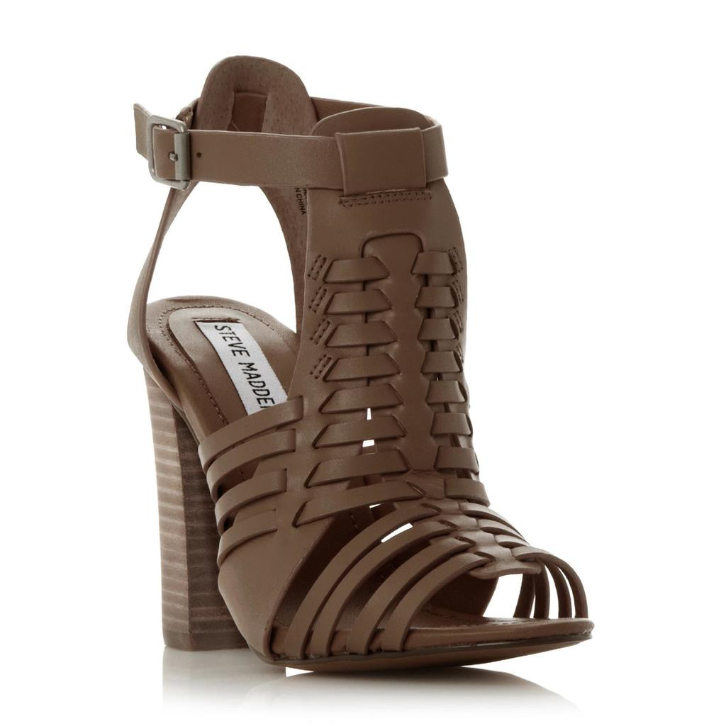 Sandrina Sm Woven Block Heel Huarache Sandal - predominant colour: chocolate brown; material: leather; heel height: high; ankle detail: ankle strap; heel: block; toe: open toe/peeptoe; style: strappy; finish: plain; pattern: plain; occasions: creative work; season: s/s 2016; wardrobe: investment