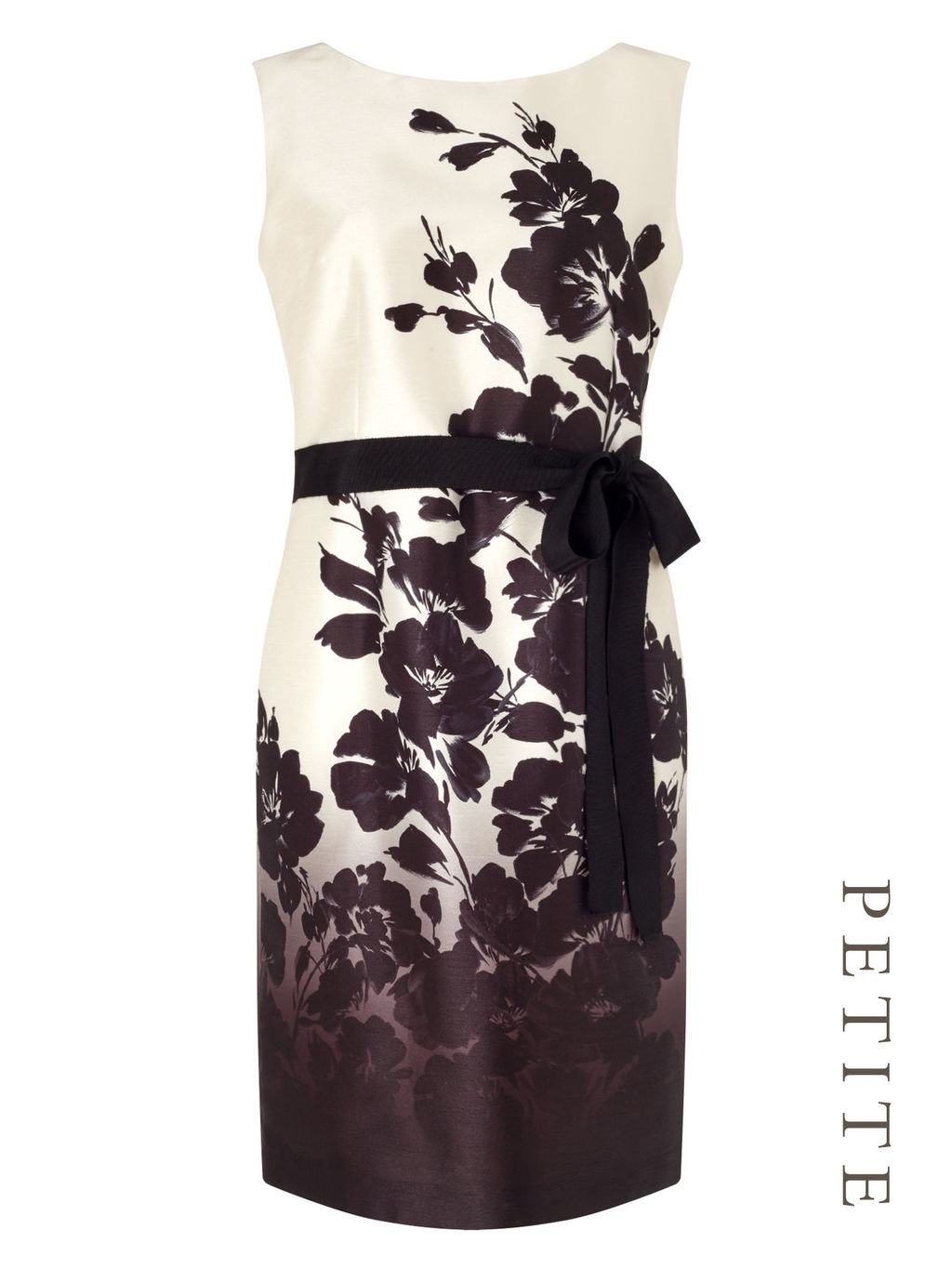 Petite Ombre Fleur Print Dress - style: shift; fit: tailored/fitted; sleeve style: sleeveless; waist detail: belted waist/tie at waist/drawstring; predominant colour: ivory/cream; secondary colour: black; occasions: evening; length: just above the knee; fibres: polyester/polyamide - 100%; neckline: crew; sleeve length: sleeveless; trends: monochrome; texture group: structured shiny - satin/tafetta/silk etc.; pattern type: fabric; pattern: florals; multicoloured: multicoloured; season: s/s 2016; wardrobe: event