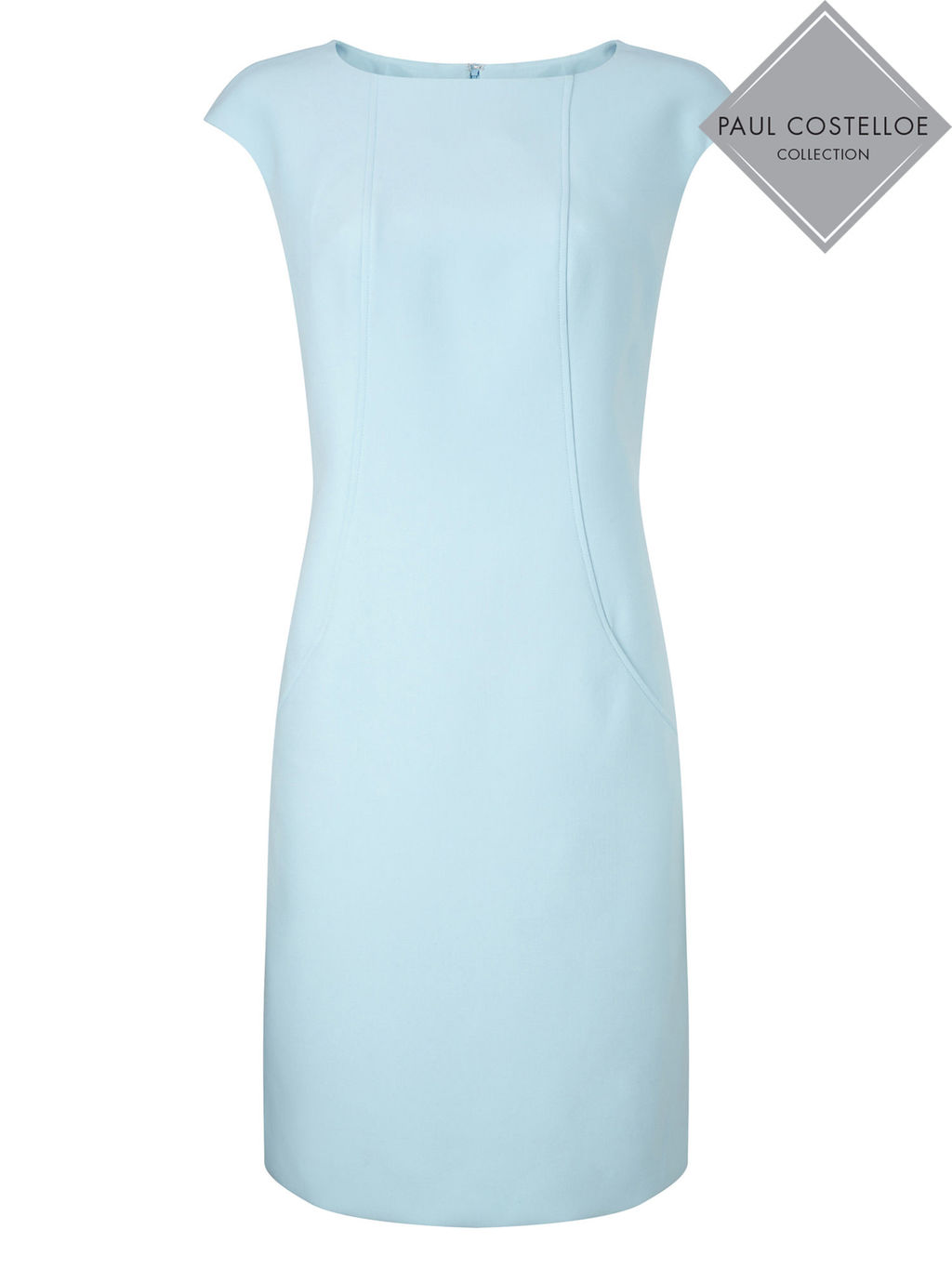 Paul Costelloe Kempton Dress - style: shift; sleeve style: capped; pattern: plain; predominant colour: pale blue; occasions: evening; length: on the knee; fit: body skimming; fibres: polyester/polyamide - stretch; neckline: crew; sleeve length: short sleeve; pattern type: fabric; texture group: jersey - stretchy/drapey; season: s/s 2016; wardrobe: event