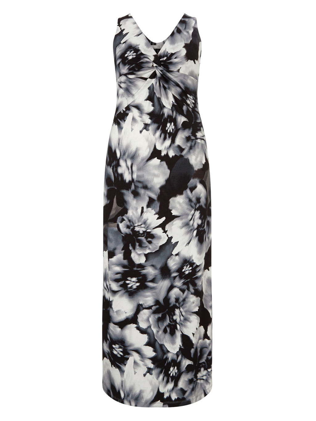 Mono Floral Printed Maxi Dress - neckline: v-neck; fit: tailored/fitted; sleeve style: sleeveless; style: maxi dress; length: ankle length; secondary colour: white; predominant colour: black; fibres: viscose/rayon - stretch; occasions: occasion; sleeve length: sleeveless; pattern type: fabric; pattern size: big & busy; pattern: florals; texture group: jersey - stretchy/drapey; multicoloured: multicoloured; season: s/s 2016; wardrobe: event
