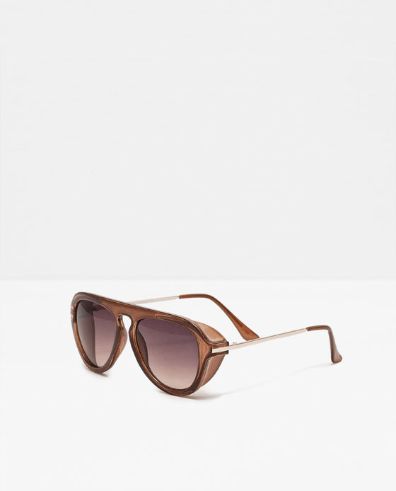 Retro Style Resin Sunglasses - predominant colour: taupe; occasions: casual, holiday; style: novelty; size: large; material: plastic/rubber; pattern: plain; finish: plain; season: s/s 2016