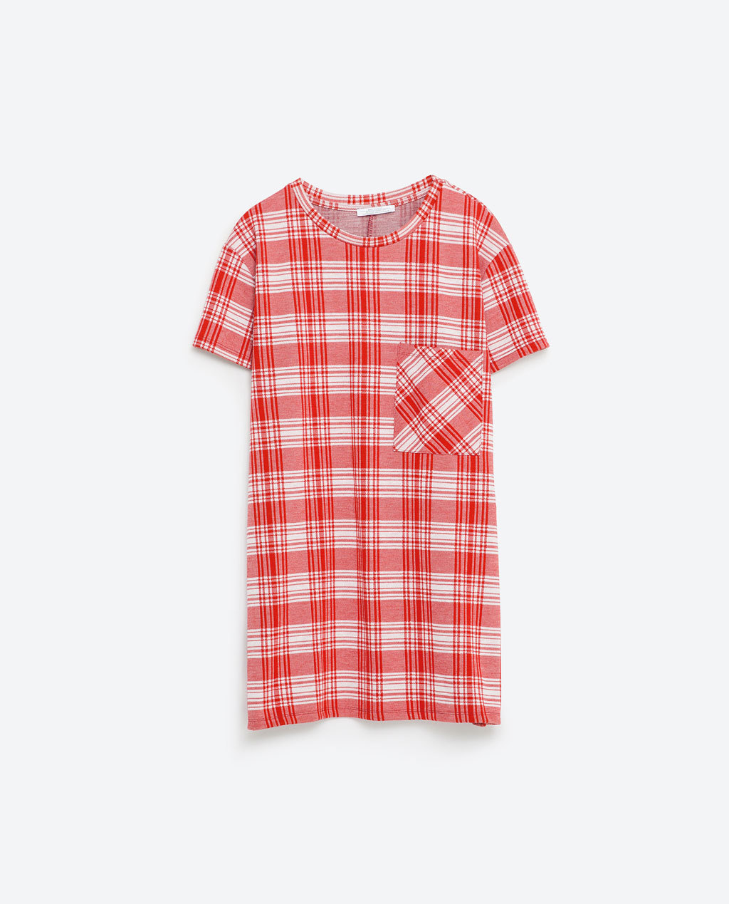 Check T Shirt - neckline: round neck; pattern: checked/gingham; length: below the bottom; style: t-shirt; bust detail: subtle bust detail; predominant colour: true red; occasions: casual; fibres: cotton - stretch; fit: straight cut; sleeve length: short sleeve; sleeve style: standard; pattern type: fabric; texture group: jersey - stretchy/drapey; pattern size: big & busy (top); season: s/s 2016; wardrobe: highlight