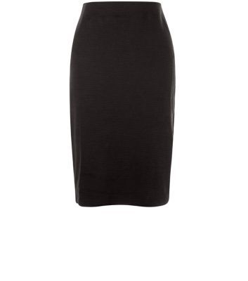Black Ribbed Pencil Skirt - pattern: plain; style: pencil; fit: tight; waist: mid/regular rise; predominant colour: black; occasions: evening; length: on the knee; fibres: polyester/polyamide - stretch; pattern type: fabric; texture group: other - light to midweight; season: s/s 2016; wardrobe: event