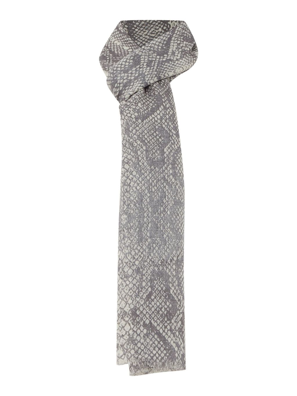Snakeskin Print Scarf, Multi Coloured - predominant colour: mid grey; occasions: casual, creative work; type of pattern: small; style: regular; size: standard; material: fabric; pattern: animal print; season: s/s 2016; wardrobe: highlight