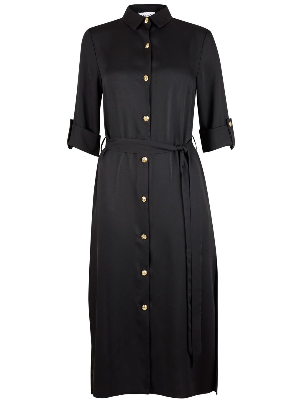 Long Line Belted Slit Shirt, Black - neckline: shirt collar/peter pan/zip with opening; pattern: plain; style: shirt; hip detail: fitted at hip; waist detail: belted waist/tie at waist/drawstring; predominant colour: black; occasions: casual, creative work; fibres: polyester/polyamide - 100%; fit: body skimming; length: mid thigh; sleeve length: long sleeve; sleeve style: standard; texture group: crepes; pattern type: fabric; season: s/s 2016; wardrobe: basic