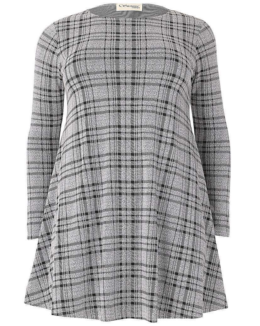 Sienna Couture Check Dress - style: smock; length: mid thigh; fit: loose; pattern: checked/gingham; predominant colour: light grey; occasions: casual; fibres: polyester/polyamide - stretch; neckline: crew; hip detail: subtle/flattering hip detail; sleeve length: long sleeve; sleeve style: standard; pattern type: fabric; texture group: jersey - stretchy/drapey; season: s/s 2016; wardrobe: highlight