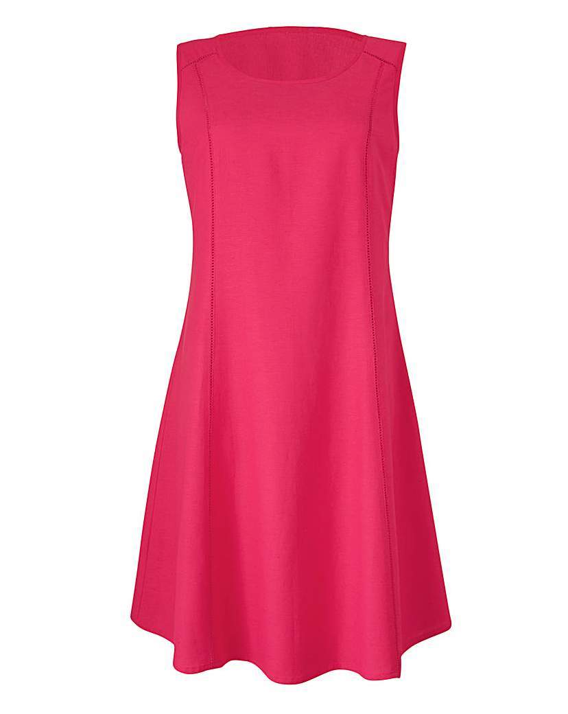 Hot Pink Plain Linen Mix Dress - length: mid thigh; neckline: round neck; pattern: plain; sleeve style: sleeveless; predominant colour: hot pink; occasions: casual; fit: fitted at waist & bust; style: fit & flare; fibres: linen - 100%; hip detail: subtle/flattering hip detail; sleeve length: sleeveless; texture group: linen; pattern type: fabric; season: s/s 2016; wardrobe: highlight