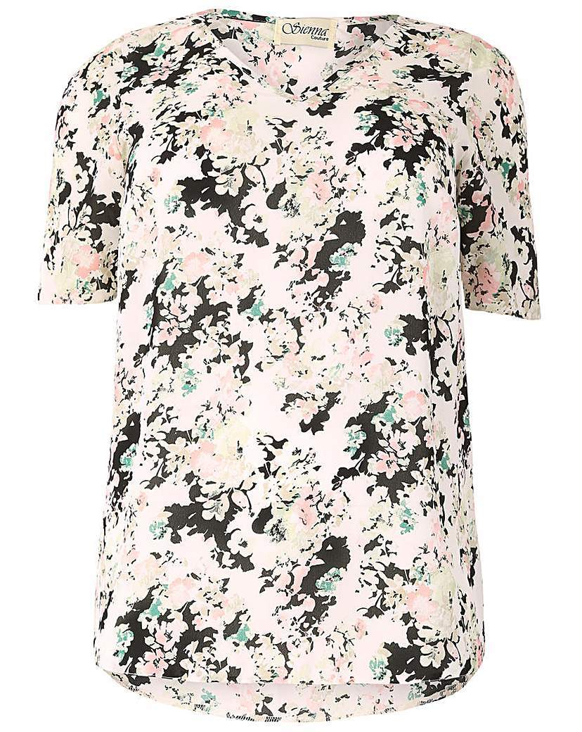 Sienna Couture Floral Top - neckline: v-neck; predominant colour: ivory/cream; secondary colour: black; occasions: casual; length: standard; style: top; fibres: polyester/polyamide - 100%; fit: body skimming; sleeve length: short sleeve; sleeve style: standard; texture group: cotton feel fabrics; pattern type: fabric; pattern: florals; multicoloured: multicoloured; season: s/s 2016; wardrobe: highlight