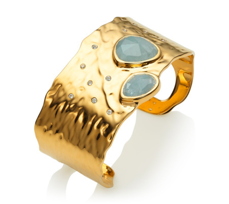 Gold Vermeil Siren Odyssey Cuff Aquamarine - predominant colour: gold; occasions: evening, occasion, creative work; style: cuff; size: large/oversized; material: chain/metal; finish: metallic; embellishment: jewels/stone; season: s/s 2016; wardrobe: highlight