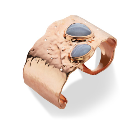 Rose Gold Siren Odyssey Cuff Blue Lace Agate - predominant colour: gold; occasions: evening, occasion, creative work; style: cuff; size: large/oversized; material: chain/metal; finish: metallic; embellishment: jewels/stone; season: s/s 2016; wardrobe: highlight