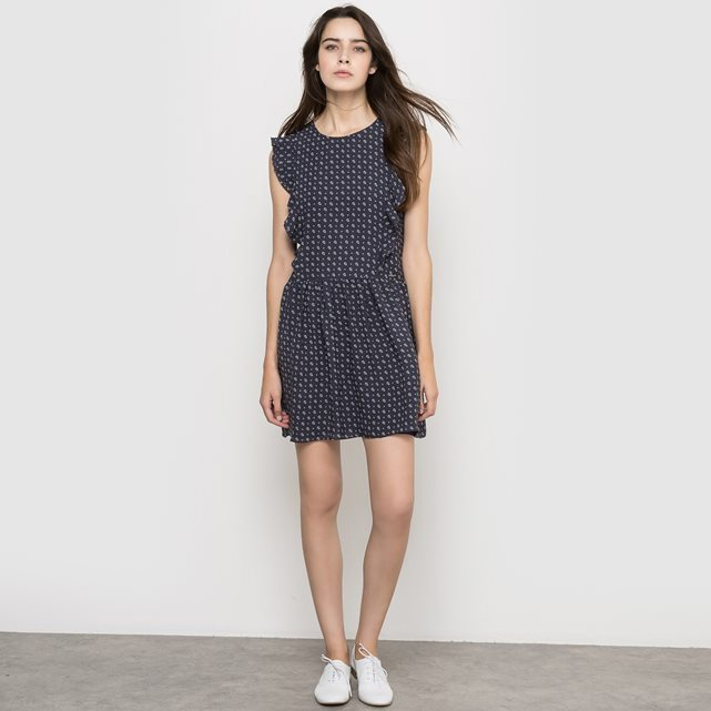 Sleeveless Crepe Dress - style: shift; length: mid thigh; sleeve style: capped; pattern: polka dot; bust detail: ruching/gathering/draping/layers/pintuck pleats at bust; secondary colour: white; predominant colour: navy; occasions: casual; fit: body skimming; fibres: polyester/polyamide - 100%; neckline: crew; sleeve length: short sleeve; texture group: crepes; pattern type: fabric; season: s/s 2016; wardrobe: highlight