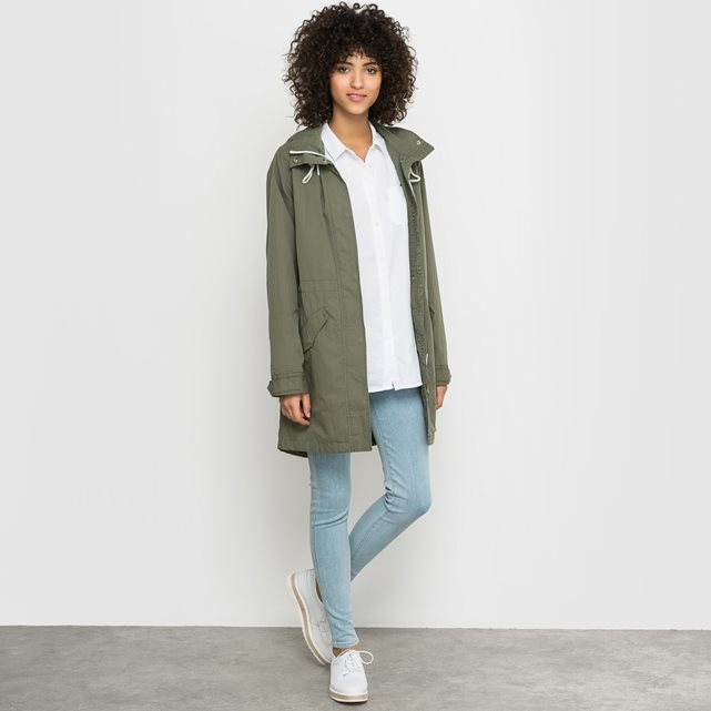 Hooded Parka - pattern: plain; collar: funnel; style: parka; back detail: hood; length: mid thigh; predominant colour: dark green; occasions: casual; fit: straight cut (boxy); fibres: cotton - mix; sleeve length: long sleeve; sleeve style: standard; collar break: high/illusion of break when open; pattern type: fabric; texture group: woven light midweight; season: s/s 2016; wardrobe: highlight
