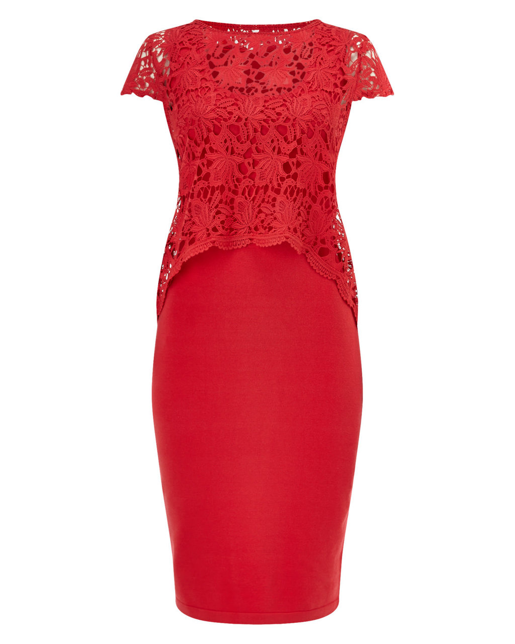 Lexus Lace Knit Dress - style: shift; fit: tailored/fitted; pattern: plain; hip detail: draws attention to hips; predominant colour: true red; occasions: evening; length: on the knee; neckline: crew; sleeve length: short sleeve; sleeve style: standard; pattern type: fabric; texture group: jersey - stretchy/drapey; fibres: viscose/rayon - mix; embellishment: lace; season: s/s 2016; wardrobe: event; embellishment location: bust