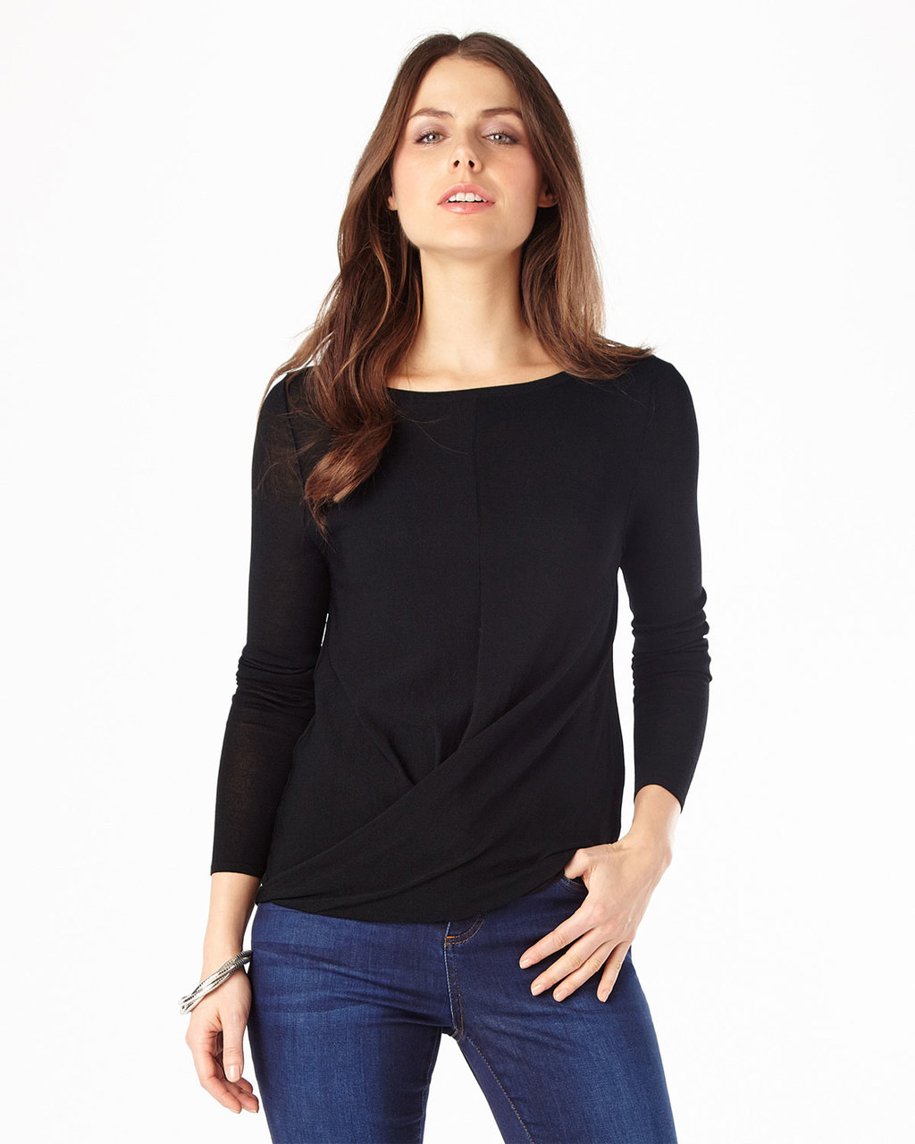 Gretchen Twist Knit Top - neckline: round neck; pattern: plain; waist detail: twist front waist detail/nipped in at waist on one side/soft pleats/draping/ruching/gathering waist detail; predominant colour: black; occasions: casual; length: standard; style: top; fit: body skimming; sleeve length: 3/4 length; sleeve style: standard; texture group: knits/crochet; pattern type: fabric; fibres: viscose/rayon - mix; season: s/s 2016
