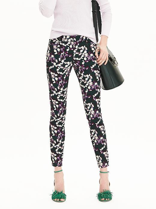 New Sloan Fit Floral Slim Ankle Pant Oc Green Print - waist: mid/regular rise; secondary colour: purple; predominant colour: black; occasions: evening, creative work; length: ankle length; fibres: polyester/polyamide - 100%; fit: skinny/tight leg; pattern type: fabric; pattern: florals; texture group: woven light midweight; style: standard; multicoloured: multicoloured; season: s/s 2016; wardrobe: highlight