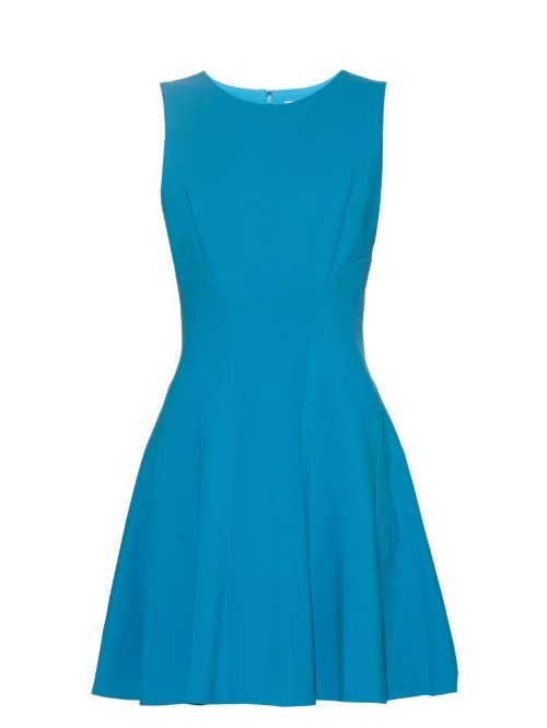 Citra Dress - length: mid thigh; neckline: round neck; pattern: plain; sleeve style: sleeveless; predominant colour: diva blue; occasions: evening, occasion; fit: fitted at waist & bust; style: fit & flare; fibres: silk - 100%; hip detail: subtle/flattering hip detail; sleeve length: sleeveless; texture group: crepes; pattern type: fabric; season: s/s 2016; wardrobe: event