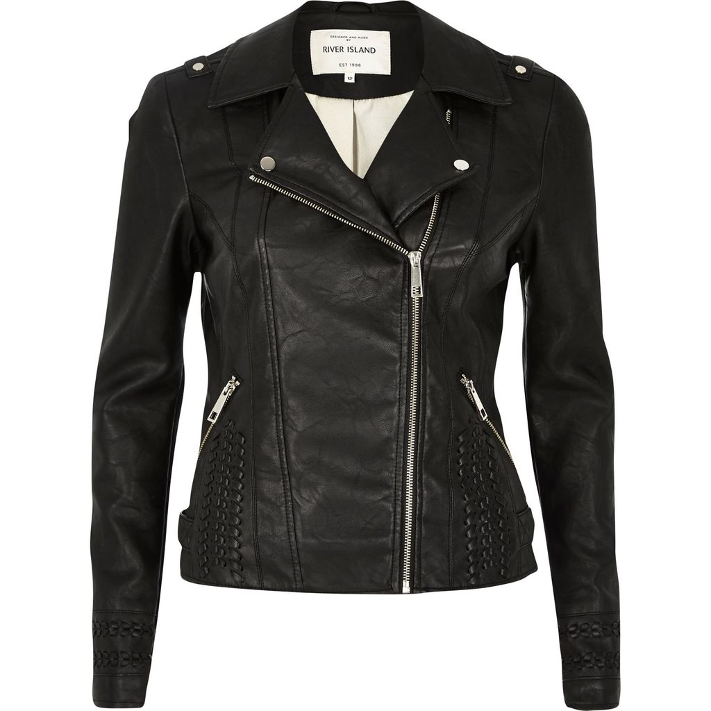 Womens Black Leather Look Whipstitch Biker Jacket - pattern: plain; style: biker; collar: asymmetric biker; predominant colour: black; occasions: casual; length: standard; fit: tailored/fitted; fibres: polyester/polyamide - stretch; sleeve length: long sleeve; sleeve style: standard; texture group: leather; collar break: medium; pattern type: fabric; season: s/s 2016; wardrobe: basic