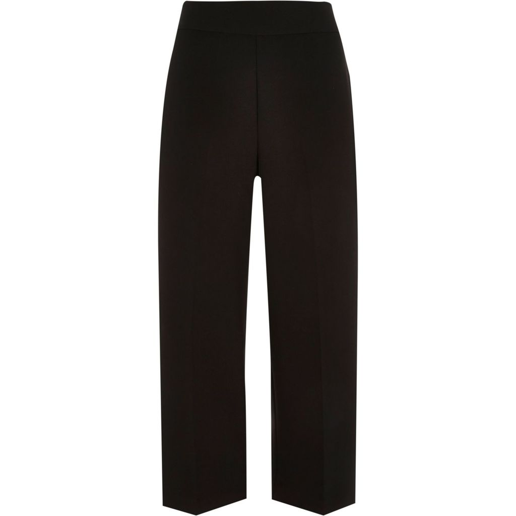Womens Black Cropped Wide Leg Trousers - pattern: plain; waist: high rise; predominant colour: black; occasions: work, creative work; length: calf length; fibres: polyester/polyamide - 100%; fit: straight leg; pattern type: fabric; texture group: other - light to midweight; style: standard; season: s/s 2016; wardrobe: basic