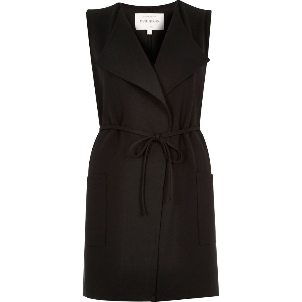 Womens Black Jersey Belted Sleeveless Jacket - pattern: plain; sleeve style: sleeveless; collar: wide lapels; predominant colour: black; occasions: casual, creative work; fit: straight cut (boxy); fibres: polyester/polyamide - stretch; style: waistcoat; length: mid thigh; waist detail: belted waist/tie at waist/drawstring; sleeve length: sleeveless; collar break: medium; pattern type: fabric; pattern size: standard; texture group: jersey - stretchy/drapey; season: s/s 2016; wardrobe: highlight