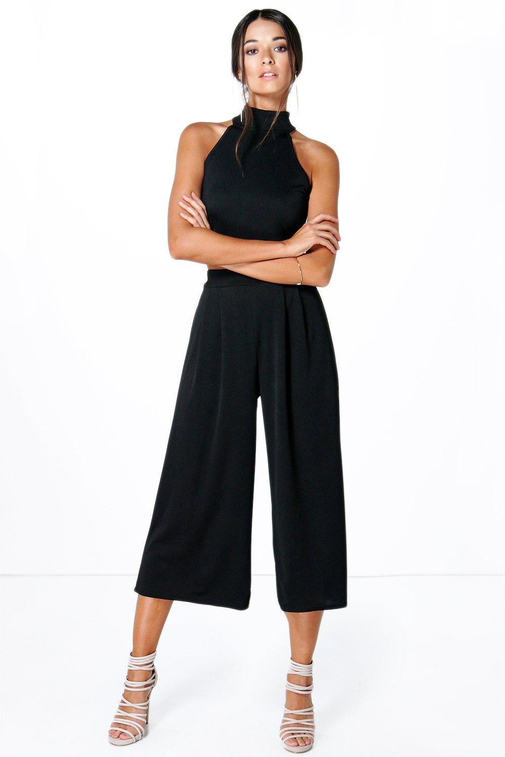 High Neck Crop & Long Culotte Co Ord Set Ivory - pattern: plain; sleeve style: sleeveless; length: cropped; predominant colour: black; occasions: evening; style: top; fibres: polyester/polyamide - 100%; fit: body skimming; sleeve length: sleeveless; pattern type: fabric; texture group: jersey - stretchy/drapey; season: s/s 2016; neckline: high halter neck; wardrobe: event