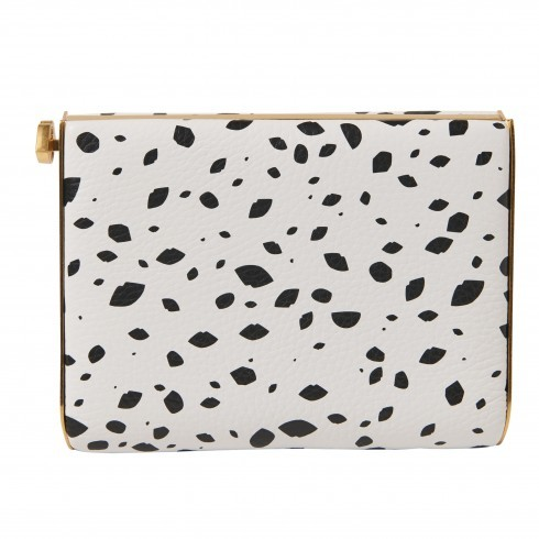 Cut Out Spot Grainy Leather Karlie Clutch - predominant colour: white; secondary colour: black; occasions: evening, occasion; type of pattern: standard; style: clutch; length: hand carry; size: small; material: leather; finish: plain; pattern: patterned/print; season: s/s 2016; wardrobe: event