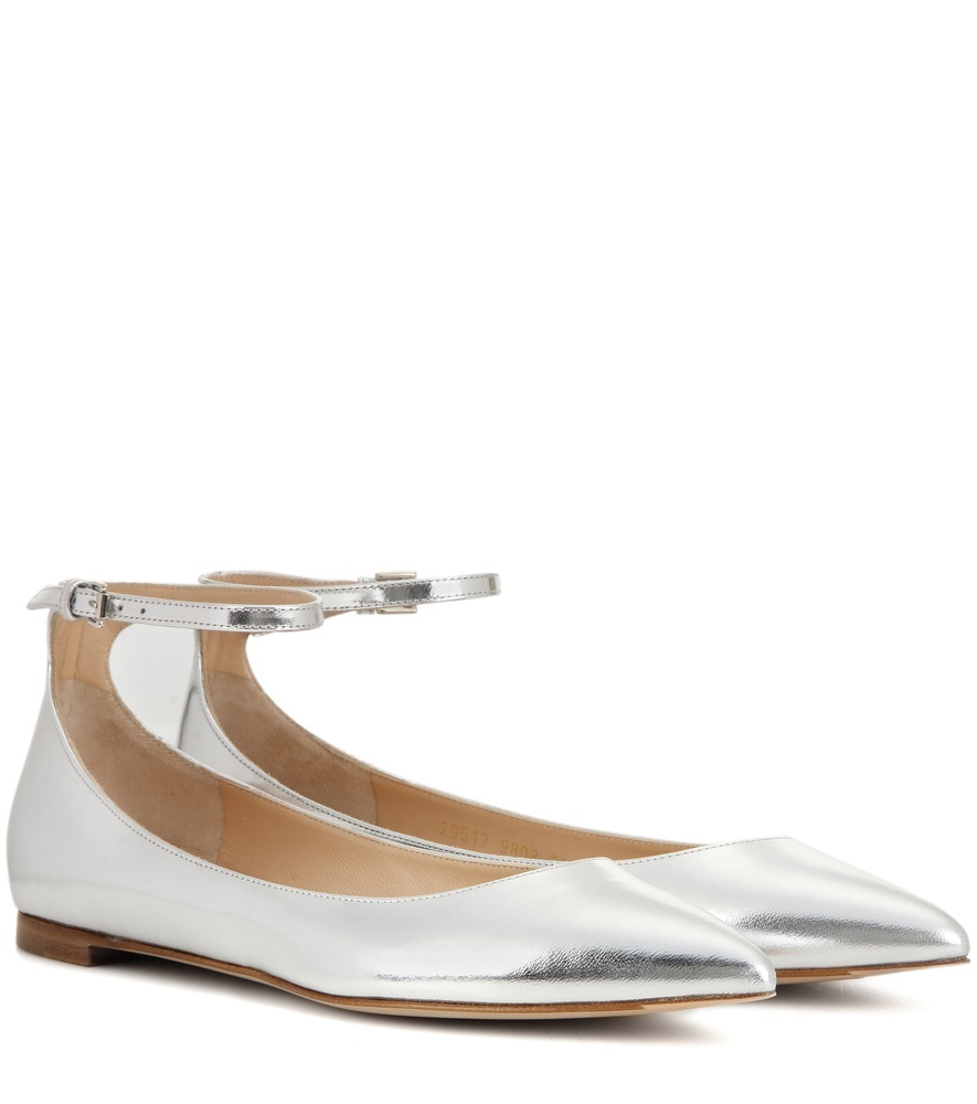 Patent Leather Ballerinas - predominant colour: silver; occasions: casual, creative work; material: leather; heel height: flat; ankle detail: ankle strap; toe: pointed toe; style: ballerinas / pumps; finish: patent; pattern: plain; season: s/s 2016; wardrobe: basic