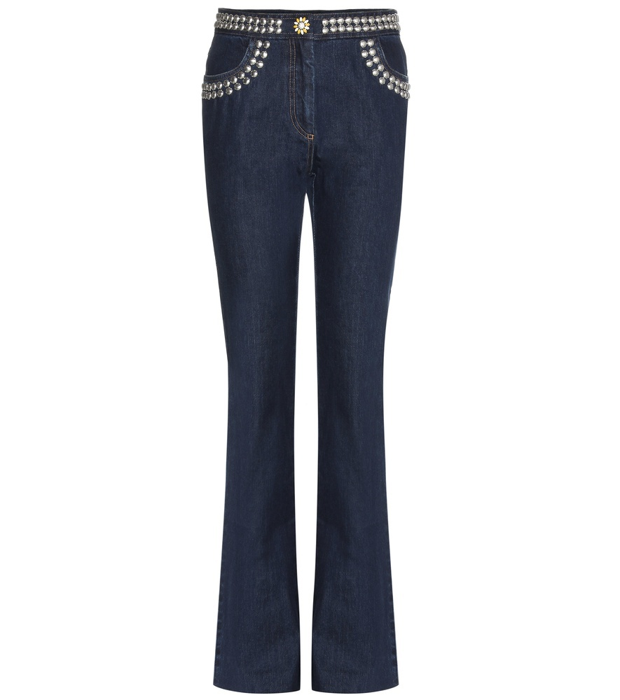 Embellished Flared Jeans - style: flares; length: standard; pattern: plain; pocket detail: traditional 5 pocket; waist: mid/regular rise; predominant colour: navy; occasions: casual; fibres: cotton - stretch; jeans detail: dark wash; texture group: denim; pattern type: fabric; embellishment: studs; season: s/s 2016; wardrobe: basic; embellishment location: hip, waist