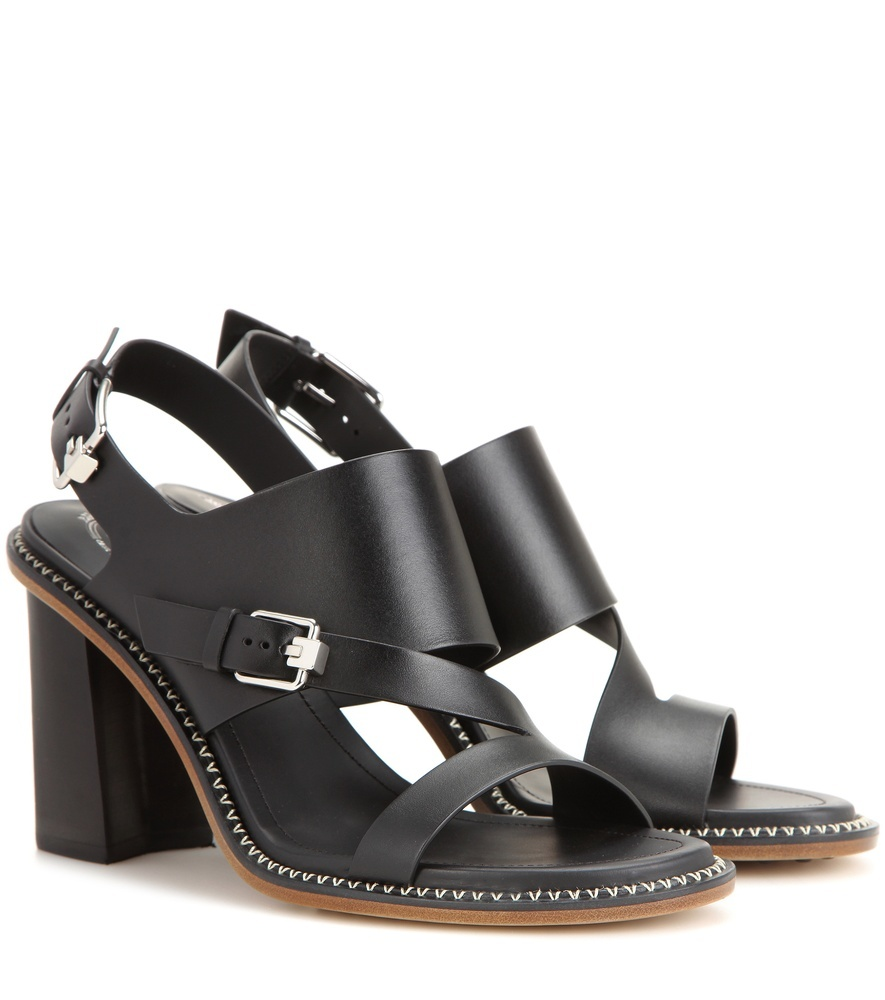 Leather Sandals - predominant colour: black; material: leather; heel height: high; ankle detail: ankle strap; heel: block; toe: open toe/peeptoe; style: strappy; finish: plain; pattern: plain; occasions: creative work; season: s/s 2016; wardrobe: investment
