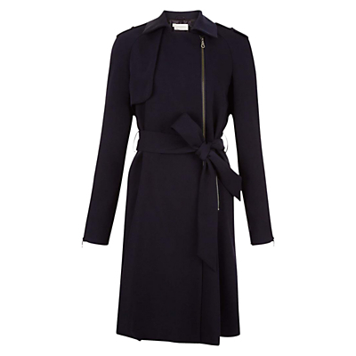 Melia Trench Coat, Navy - pattern: plain; style: trench coat; length: on the knee; predominant colour: navy; occasions: casual, work, creative work; fit: tailored/fitted; fibres: polyester/polyamide - 100%; collar: shirt collar/peter pan/zip with opening; waist detail: belted waist/tie at waist/drawstring; sleeve length: long sleeve; sleeve style: standard; texture group: technical outdoor fabrics; collar break: high; pattern type: fabric; season: s/s 2016; wardrobe: basic