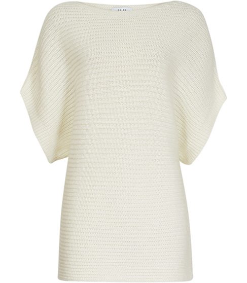 Hula Short Sleeved Jumper - neckline: slash/boat neckline; sleeve style: dolman/batwing; pattern: plain; length: below the bottom; style: standard; predominant colour: ivory/cream; occasions: casual, creative work; fibres: wool - mix; fit: standard fit; sleeve length: half sleeve; texture group: knits/crochet; pattern type: knitted - fine stitch; season: s/s 2016; wardrobe: basic