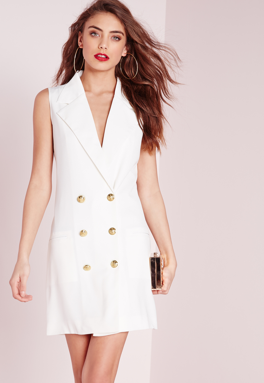 Tuxedo Wrap Dress White, White - style: shift; length: mid thigh; neckline: v-neck; fit: tailored/fitted; pattern: plain; sleeve style: sleeveless; predominant colour: white; occasions: evening; fibres: polyester/polyamide - stretch; sleeve length: sleeveless; pattern type: fabric; texture group: woven light midweight; season: s/s 2016; wardrobe: event
