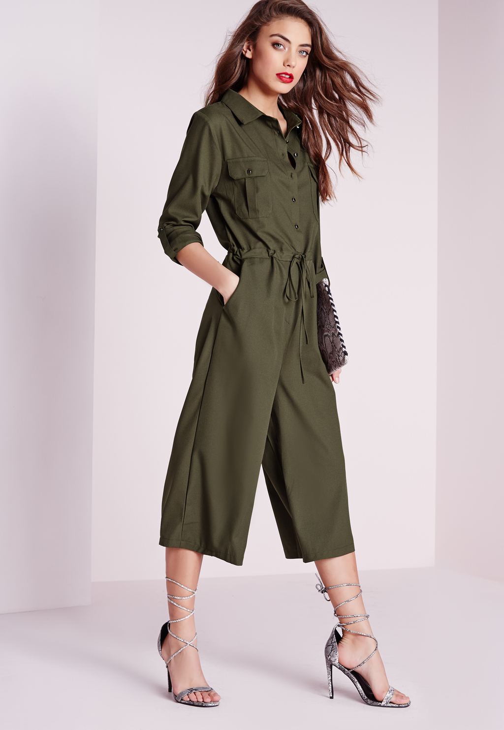 Utility Button Culotte Jumpsuit Khaki, Beige - neckline: shirt collar/peter pan/zip with opening; pattern: plain; waist detail: belted waist/tie at waist/drawstring; predominant colour: dark green; occasions: casual; length: calf length; fit: body skimming; fibres: viscose/rayon - 100%; sleeve length: long sleeve; sleeve style: standard; style: jumpsuit; pattern type: fabric; texture group: other - light to midweight; season: s/s 2016; wardrobe: highlight