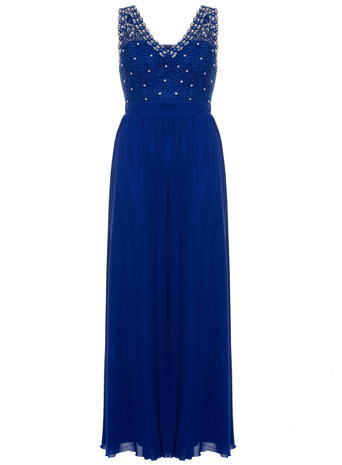 Womens **Quiz Lace Beaded Maxi Dress Blue - neckline: v-neck; pattern: plain; sleeve style: sleeveless; style: maxi dress; predominant colour: royal blue; occasions: evening; length: floor length; fit: body skimming; fibres: polyester/polyamide - 100%; sleeve length: sleeveless; pattern type: fabric; texture group: jersey - stretchy/drapey; embellishment: beading; season: s/s 2016; wardrobe: event; embellishment location: bust
