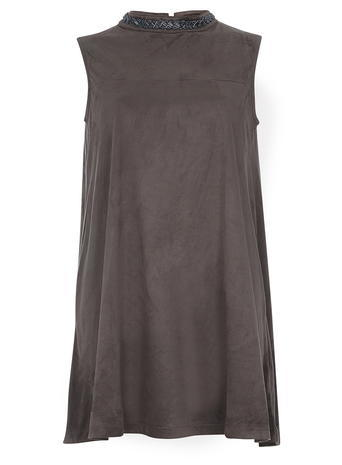 Womens **Mela Grey Embellished Dress Grey - style: shift; pattern: plain; sleeve style: sleeveless; neckline: high neck; predominant colour: charcoal; occasions: evening; length: just above the knee; fit: body skimming; fibres: polyester/polyamide - stretch; sleeve length: sleeveless; pattern type: fabric; texture group: suede; embellishment: beading; season: s/s 2016