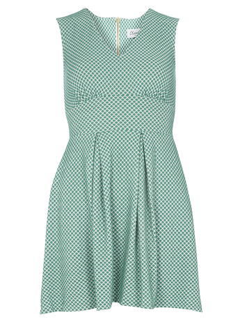Womens **Closet Green Polka Dot Dress Green - length: mid thigh; neckline: v-neck; sleeve style: sleeveless; waist detail: wide waistband/cummerbund; pattern: polka dot; secondary colour: navy; predominant colour: turquoise; occasions: evening, creative work; fit: fitted at waist & bust; style: fit & flare; fibres: polyester/polyamide - 100%; hip detail: soft pleats at hip/draping at hip/flared at hip; sleeve length: sleeveless; pattern type: fabric; pattern size: light/subtle; texture group: woven light midweight; season: s/s 2016; wardrobe: highlight
