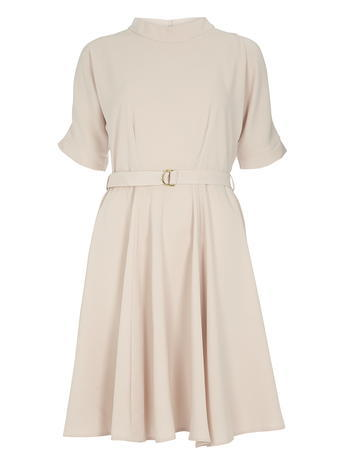 Womens **Closet Pale Pink Swing Dress Pink - pattern: plain; neckline: high neck; waist detail: belted waist/tie at waist/drawstring; predominant colour: blush; occasions: casual; length: just above the knee; fit: fitted at waist & bust; style: fit & flare; fibres: polyester/polyamide - stretch; sleeve length: short sleeve; sleeve style: standard; pattern type: fabric; texture group: jersey - stretchy/drapey; season: s/s 2016