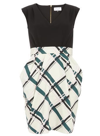 Womens **Closet V Neck Tulip Dress Multi Colour - length: mid thigh; neckline: v-neck; sleeve style: sleeveless; pattern: checked/gingham; style: tulip; secondary colour: white; predominant colour: black; occasions: evening; fit: fitted at waist & bust; fibres: polyester/polyamide - stretch; sleeve length: sleeveless; texture group: crepes; pattern type: fabric; multicoloured: multicoloured; season: s/s 2016; wardrobe: event