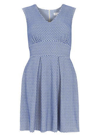 Womens **Closet Blue Polka Dot Pleated Dress Blue - length: mid thigh; neckline: v-neck; sleeve style: sleeveless; waist detail: wide waistband/cummerbund; secondary colour: white; predominant colour: navy; occasions: casual; fit: fitted at waist & bust; style: fit & flare; fibres: viscose/rayon - stretch; sleeve length: sleeveless; pattern type: fabric; pattern: patterned/print; texture group: jersey - stretchy/drapey; multicoloured: multicoloured; season: s/s 2016