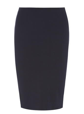 Womens Petite Navy Pencil Skirt Blue - pattern: plain; style: pencil; fit: tailored/fitted; waist: mid/regular rise; predominant colour: navy; occasions: work; length: just above the knee; fibres: viscose/rayon - stretch; pattern type: fabric; texture group: woven light midweight; season: s/s 2016